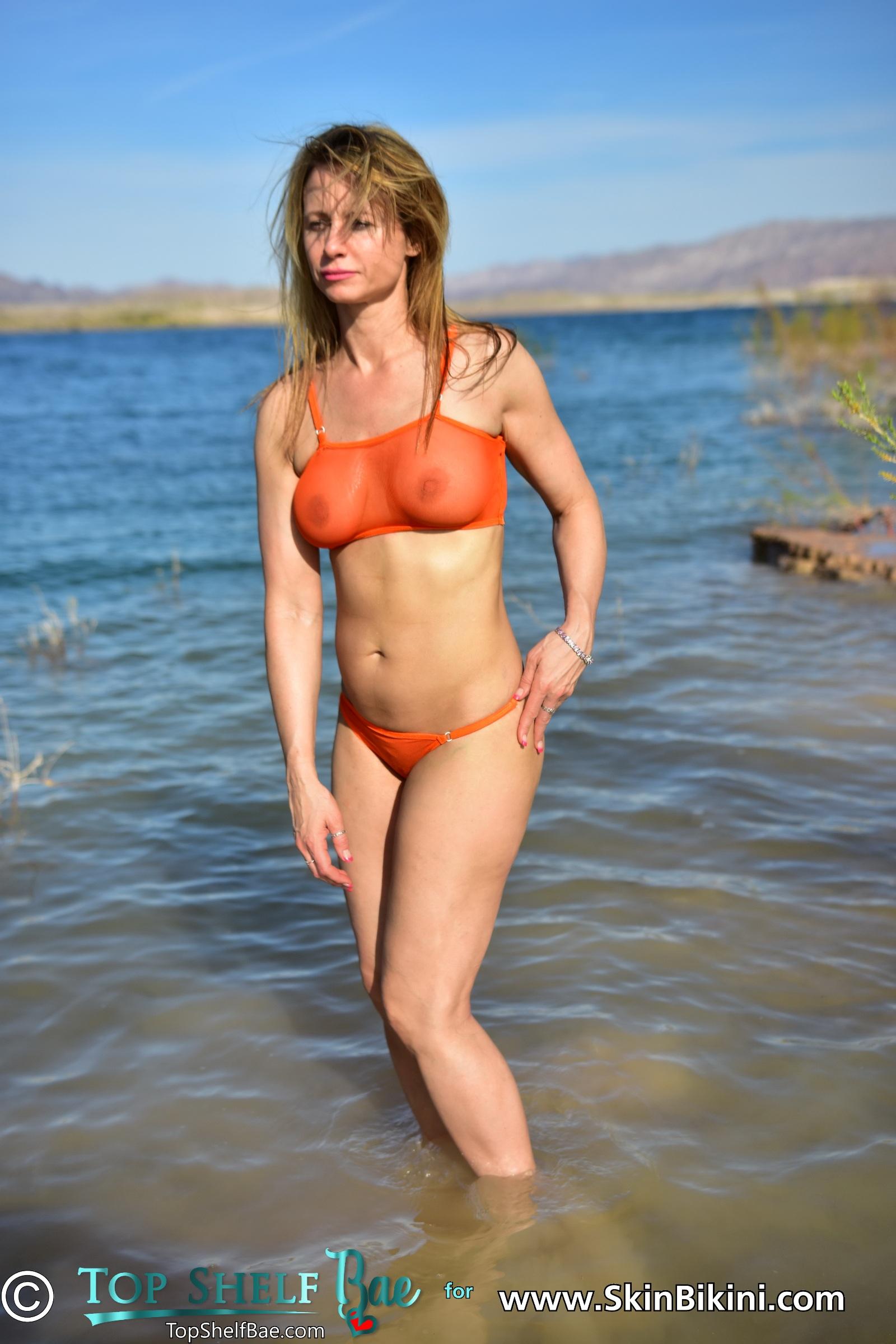 Sexy USA model from Topshelfbae is wearing daring see-thru tankini set from SkinBikini.com
