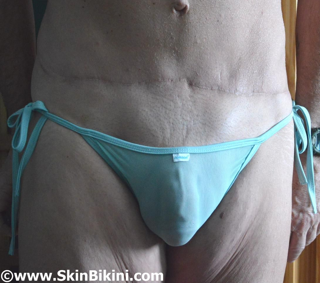 Men in sexy see-thru mesh sheer bikini by skinbikini.com