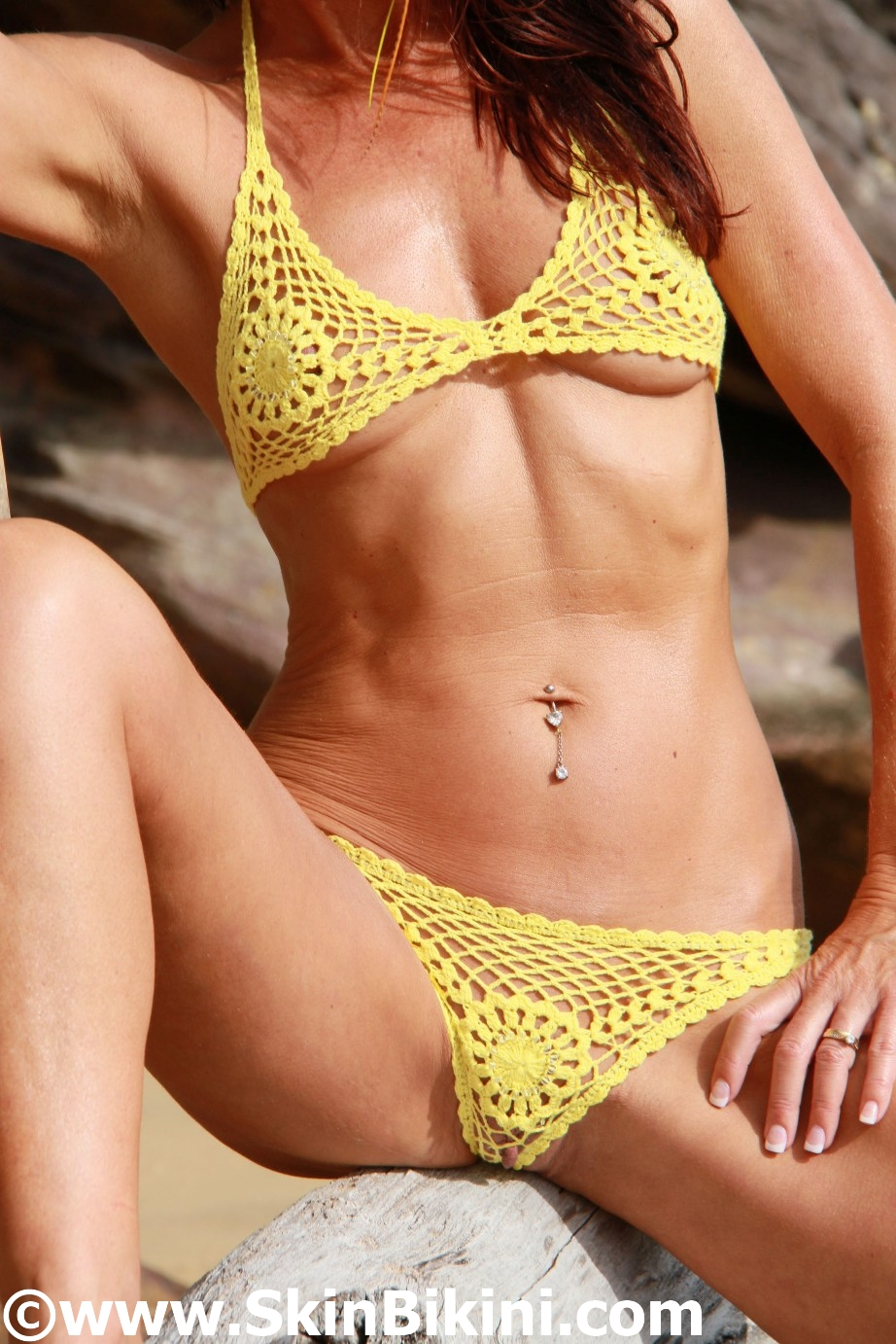 41481 - Beaded Sexy Floral Mini Bikini Hand-Crochet yellow font view at skinbikini.com