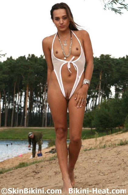 Sexy babe in Skin Bikini crotchless monokini bikini
