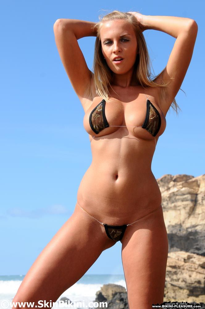 sexy German Girl from bikini-pleasure is wearing hot naked string metallic bikini set from SkinBikini.com