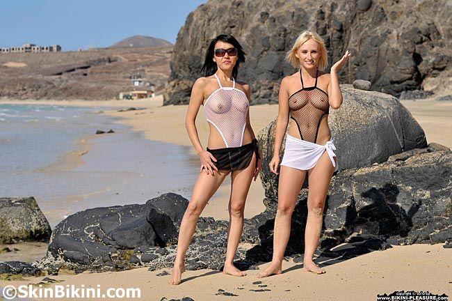 Daring SkinBikini fishnet Monokini and mesh see-thru wrap worn by Bikini-Pleasure Model