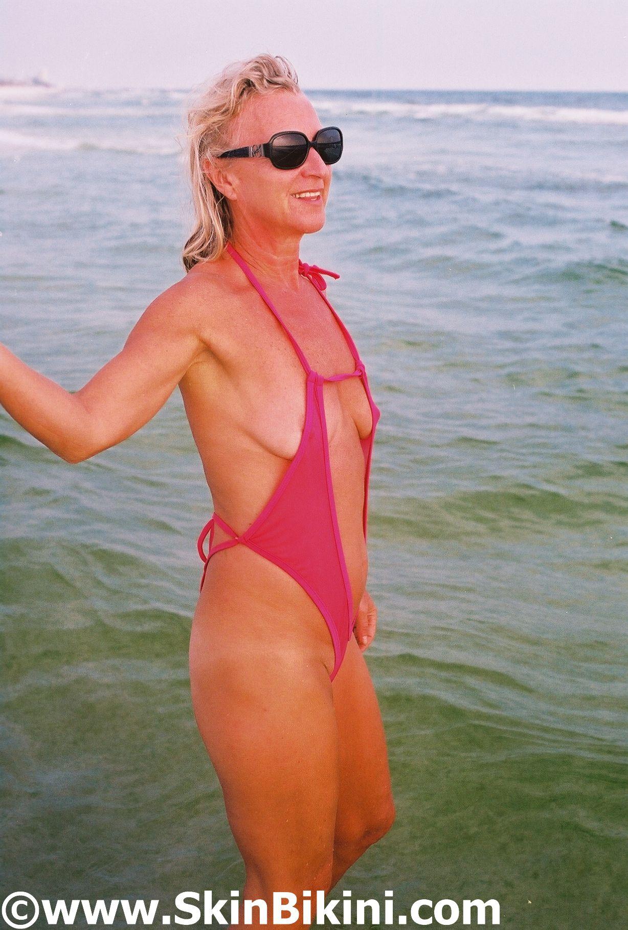 skinbikini.com customer in sexy see-thru hot pink monokini