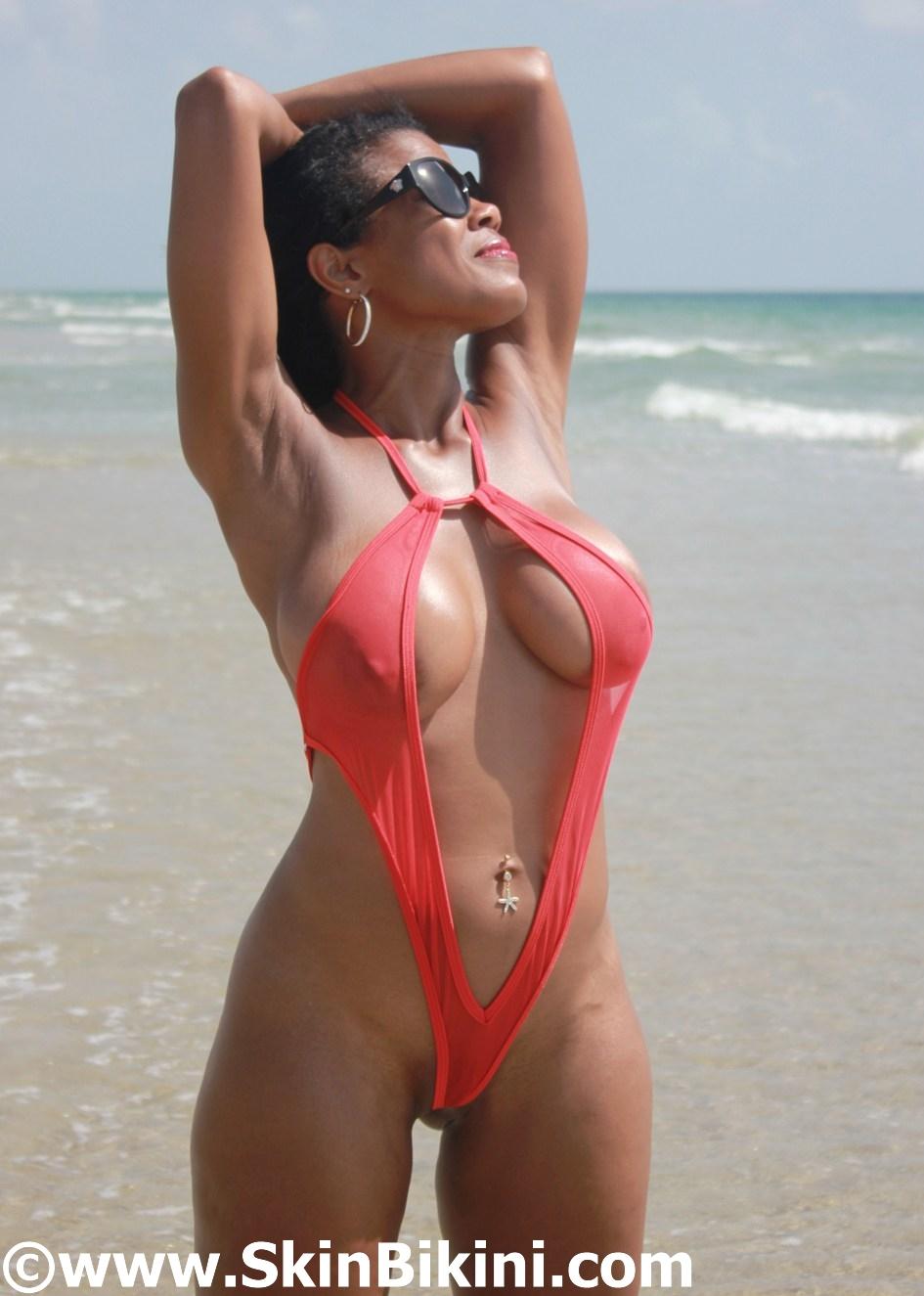 Sexy see-thru front open mesh monokini from skinbikini.com