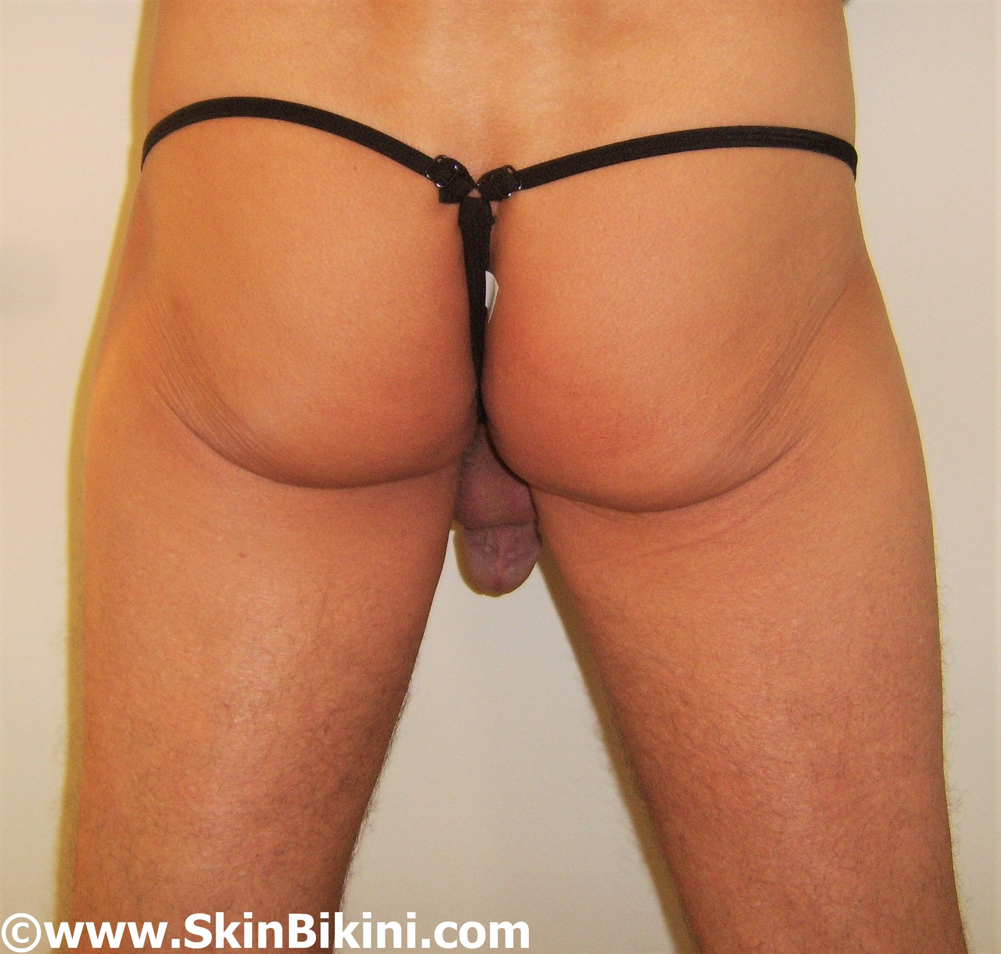 men's see-thru cock ring bikini thong in yellow front view